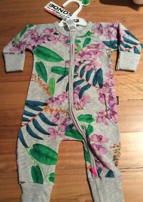 Baby Bonds Zip Wondersuit Brand New In Pack Size 000 Girl Orchids 0-3 Months