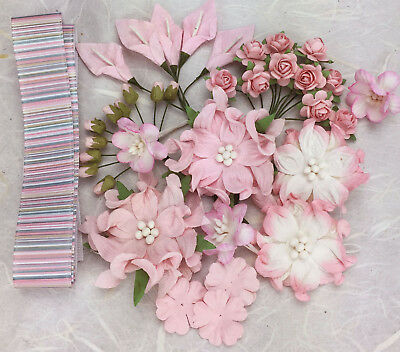 36 Quality PINK Mulberry Paper Flowers Assorted Sizes & Designs + 1m Ribbon