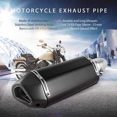 38-51MM Universal Motorcycle Muffler Exhaust Vent Pipe W/ Removable DB Killer BU