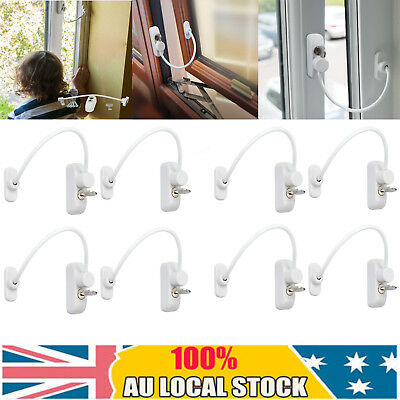 8PCS Window Door Restrictor Security Cable Key Lock Catch Wire Child Baby Safety