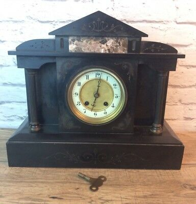 Victorian Polished Slate & Marble 8 Day Movement Mantle Clock With Enamel Face.
