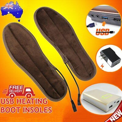 1 Pair Super Soft Velvet USB Heating Boot Insoles Electric Heated Foot Warmer NX