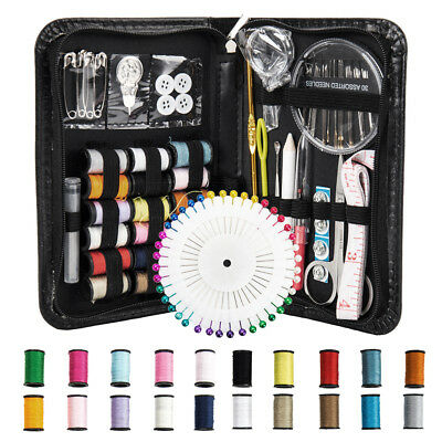 134 Set Portable Home Sewing Kit Case Needle Thread Tape Scissor Button Hand