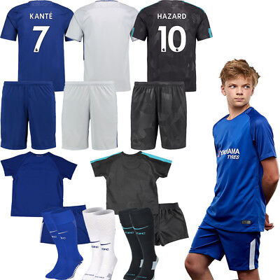 NEW Home Away Football Kits 17/18 Soccer Club Team Suit Kid Short Sleeves Jersey