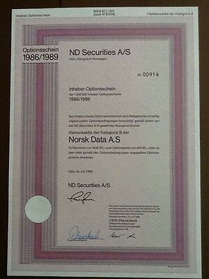 Norsk Data A.S Optionschein 1986