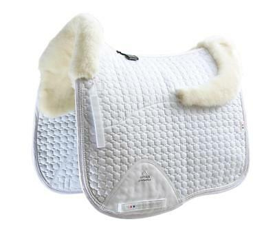 PEI Merino Wool European Saddle Pad - Dressage - White with Natural Wool