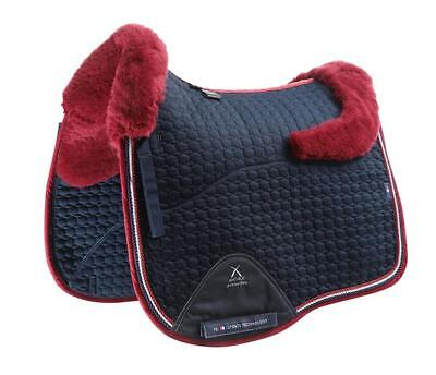 PEI Merino Wool European Saddle Pad - Dressage - Navy with Burgundy Wool
