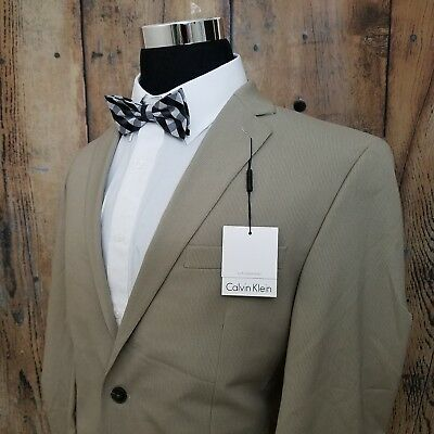 NEW $300 Calvin Klein Sport Coat Mens Poly Blend Khaki Striped 2 Button Jacket