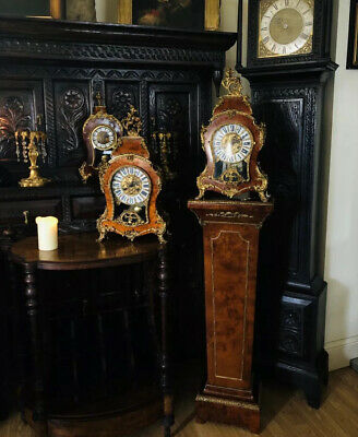 Gilt Mounted 20th Century Walnut Veneered Bracket Clock on Pedestal Franz Hermle
