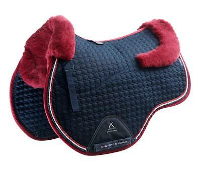 PEI Merino Wool European Saddle Pad - GP - Navy with Burgundy Wool