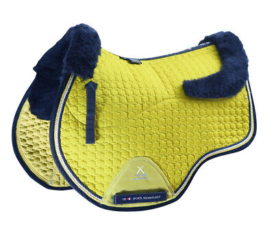 PEI Merino Wool European Saddle Pad - GP - Citrus with Navy Wool