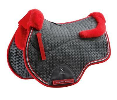 PEI Merino Wool European Saddle Pad - GP - Grey with Red Wool