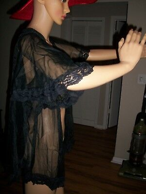 Sopre Lingerie Sheer Bed Jacket / Mid Length / Black / Excellany Condition