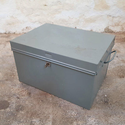 Vintage Industrial Grey Steel Strong Box / Secure Lockable Case / Chest