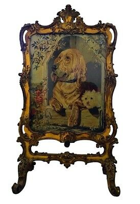 Period Gilt Tapestry Fire Screen Sir Edwin Henry Landseer's Dignity & Impudence