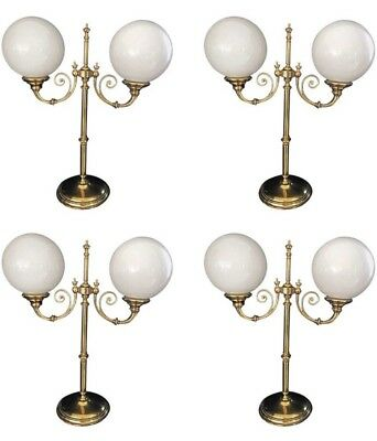 Set Of Four Vintage Brass Globe Gallery Lights With Original Opaque Glass Shades
