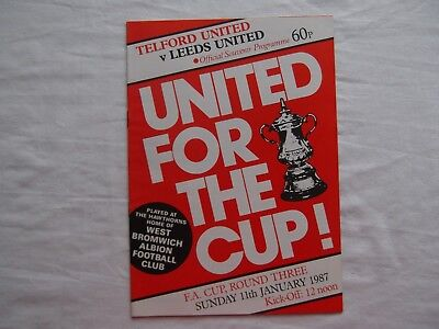 Telford United v Leeds United FA Cup 1986-1987 (at West Brom) near mint cond