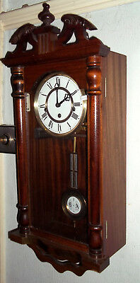 Good Small Westminster Chiming Wall Clock, Solid Mahogany Case, By Smallcombe