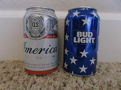 2016 USA Patriotic Beer Cans - Budweiser / America - Bud Light - Top Opened