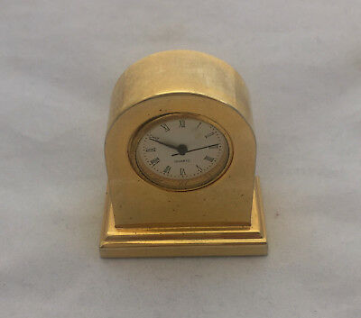 Vintage Antique Art Deco Rustic Brass Gold Collectable Mini Clock