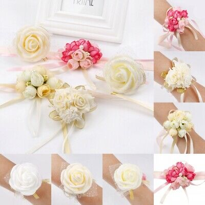 Wedding Party Wrist Pearl Corsage Bracelet Bridal Bridesmaid Hand Wrist Flowers