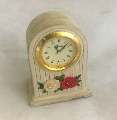 Handcast Unique Flower Vintage Antique Rustic Collectable Mini Clock