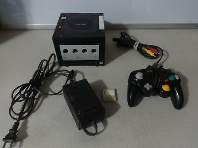 TESTED Nintendo Gamecube Black Console System W/ Mem Card AV & Power Cords GC-25