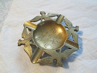 Quality Vintage Solid Brass Ornate Footed Ashtray ~ Open Wing Birds Around Rim