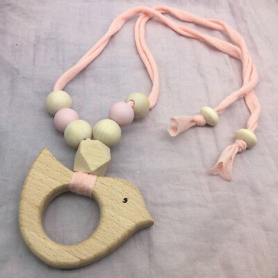 Baby Teething Necklace Cloth Cord Silicone Wooden Beads Nursing Jewelry Teether