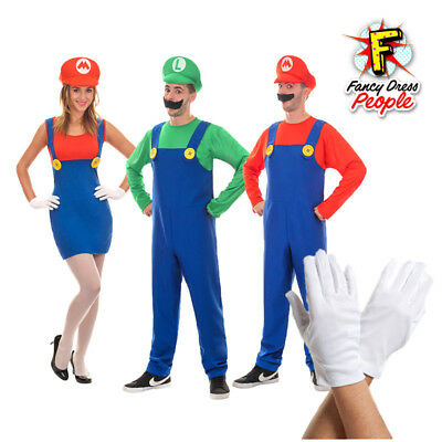 Adults Super Mario Plumber Luigi Mens Womens  1980s Fancy Dress Party Costume