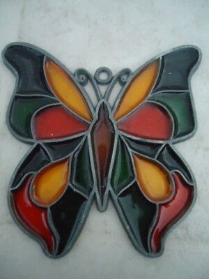 "Multicolored Butterfly Stained Glass Window Decoration 4"" x 3 1/2"""