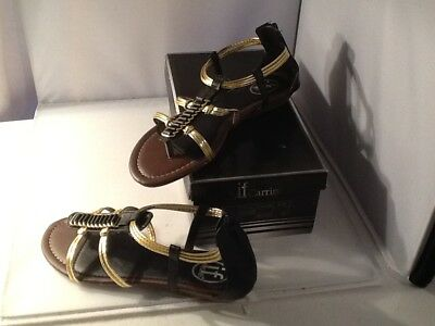 e54d6d056d2 NIB if Carrini Womens Black with Gold Accents Sandals Size 8.5 Item 52-236
