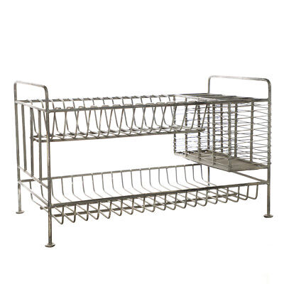 Iron Grey Vintage French Country Kitchen Large Plate Dish Drainer 2 Tier Rack