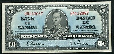 BC-23b 1937 $5 FIVE DOLLARS BANK OF CANADA BANKNOTE GORDON/TOWERS