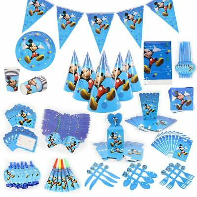 Mickey Mouse Kids Birthday Party Set Supplies Favor Tableware Boys Decor Plates