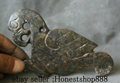 9cm Rare Old China Hongshan Culture Jade Carved Eagle Hawk Birds Pendant Amulet
