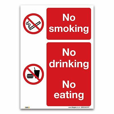 No smoking, drinking or eating - Plastic Sign - Prohibition Safety Information