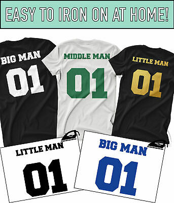 Big Man Little Man Iron On T Shirt Transfers Fathers Day Daddy Dad Son Vinyl