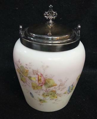 victorian milk glass biscuit jar handpainted antique vanbergh siilver plate co