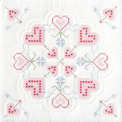 "Jack Dempsey 732 16 Stamped White Quilt Blocks 18""X18"" 6/Pkg-XX Hearts"
