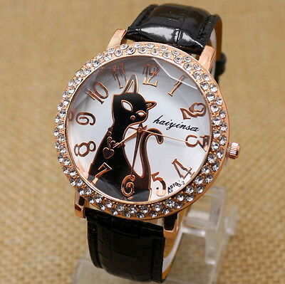 Montre Chat avec Brillants - Femme Luxe - Bracelet Cuir - Mode / Fashion Design