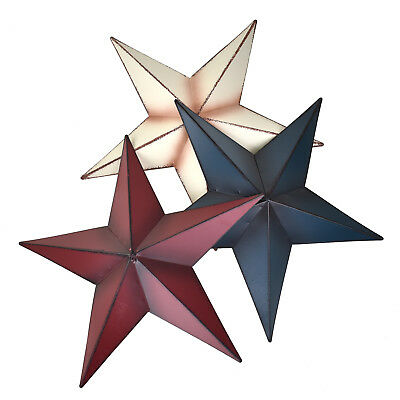 Large Rustic Metal Star Wall Decor, Assorted Colors, 18-Inch, 3-Piece