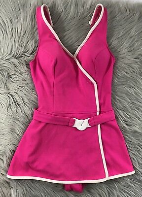 vtg 70s Fuchsia Pink mod novelty bathing swim suit skirt Belted Bullet Bra SZ 12