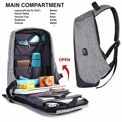 Anti-theft Laptop Notebook Backpack USB Charging Port School Travel Durable Bag