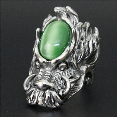 Men Dragon Ring Head Bronze Silver Green Stone Sz 13 Huge New Classic Luck