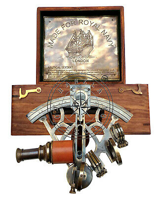 """8""""Heavy Brass Antique Sextant With Wooden Box Maritime Nautical Ship Astrolabe"""