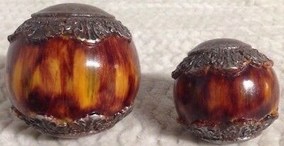 Lot Of 2 Decorative Balls Spheres Orbs Resin Wood Home Decor Basket