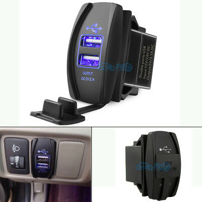 DUAL USB POWER Charger Carling Rocker Switch Blue LED For POLARIS RZR 4 XP  900