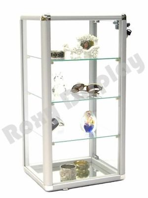 Glass Counter Top Display Case - Aluminum Framed Showcase With Front Lock