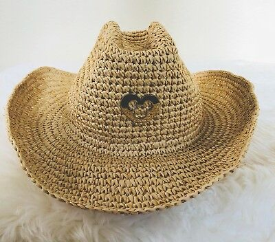 e962819f4 DISNEY PARKS STRAW Cowboy Hat Mickey Mouse Icon Gold Heart Adult Women's NEW